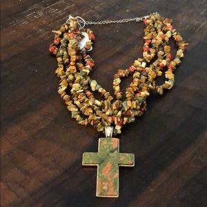 Jewelry - Multicolored Stone Necklace with Cross Pendant